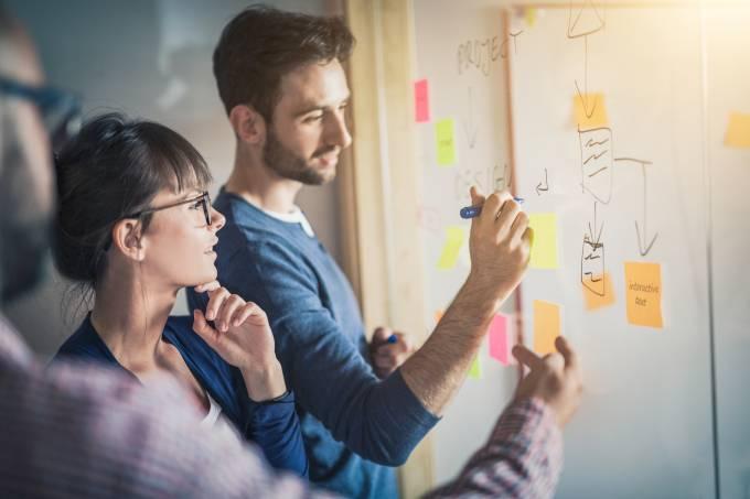 Jovens com post-its: planejamento empresarial, reunião, estratégia, planos